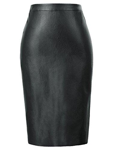Kate Kasin High Waist Pencil Skirt Black Wear to Work Knee Length Small, Black