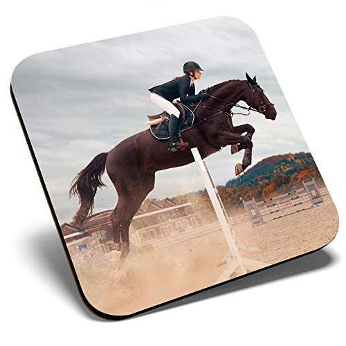 Great Single Coaster Square - Fun Equestrian Horse Jumping Glossy Quality Coasters  Tabletop Protection for Any Table Type 3259