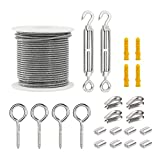 Runtodo Kit de ganchos de cuerda de alambre de cable, ganchos de valla recubiertos de PVC para luces, kit de pérgola de alambre de jardín de acero para alambre de imagen