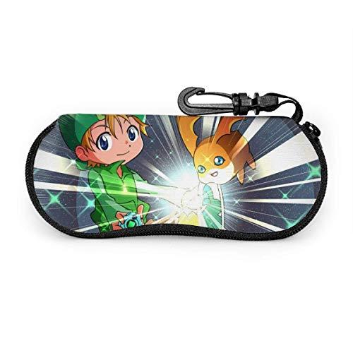 Juego de gafas de sol de anime Digimon, funda protectora portátil con cremallera de viaje suave de neopreno para gafas