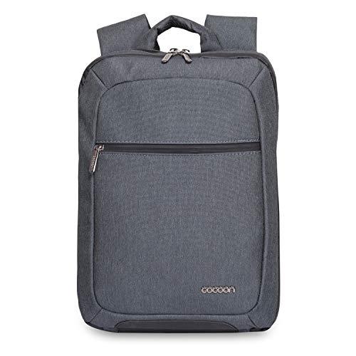 """Cocoon SLIM - Laptop Rucksack mit besonderem Organisationssystem / Praktischer Backpack für Laptops / Daypack / Rucksack für Tablet, Laptop / 2 Reißverschlussfächer / Grau - 10"""" Zoll & 15,6"""" Zoll"""