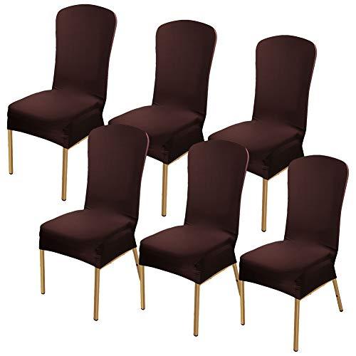 Stuhl Husse, 6 Stück Universell Stuhlhussen Stretch Stuhlbezug Stuhlüberzug der Haus Dekoration, Gedruckt Baumwolle