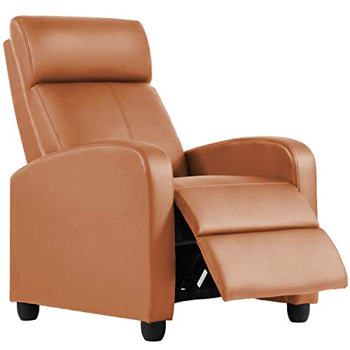 HCB Recliner Chair for Living Room Furniture Home Theater Seating Glider Chairs Modern Wingback Single Sofa PU Leather with Footrest (Tan)