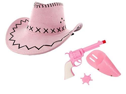 Kit de déguisement cowboy cowgirl pink rose: 4 pièces: chapeau + pistolet + Holster + badge étoile SHERIFF (KV-64)