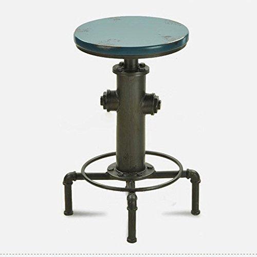Chaise de barre en fer forgé de style industriel, chaise de barre tournante, tabouret de barre rétro vintage (Color : Blue)
