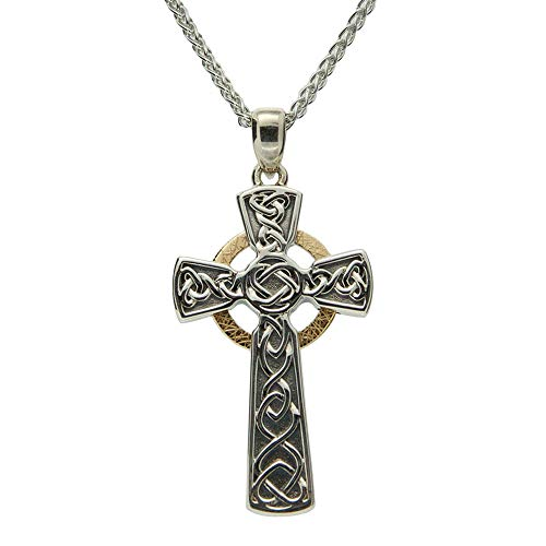 Keith Jack jewelry, Celtic Circle Large Cross 18' Necklace, Oxidized Sterling Silver & 10k Gold