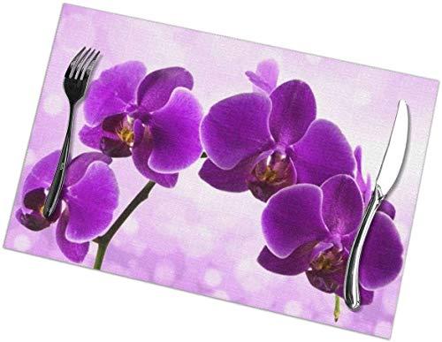 Tapetes Individuales con Estampado de Flores moradas, Juego de 4 tapetes para Mesa de Cocina fáciles de Limpiar, tapetes Resistentes al Calor (18