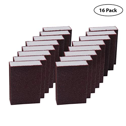 Lijado Esponja (16 Bloques) - Coarse Grueso Esponja de Lijado (10 x 6.9 x 2.5cm) Bloque de Lijado Seco y Mojado - Kit Lijas Variadas para Metal, Madera, Plástico, Decorar