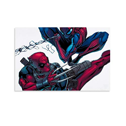 DRAGON VINES Póster decorativo de Spiderman Peter Parker Vs. Deadpool Cool HD, impresión artística, sin marco, 60 x 90 cm