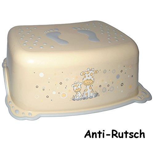 alles-meine.de GmbH Anti RUTSCH - Trittschemel / Tritthocker / Kindersitz -  Giraffe - Creme  - Kinderschemel & Kindertritt - groß - ideal als Erhöhung & Sitz - Kinderhocker - ..