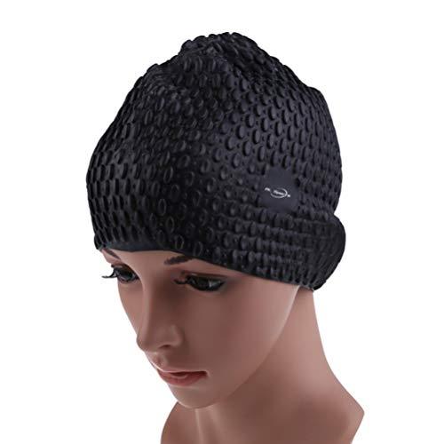 BESPORTBLE Cuffia da Nuoto in Silicone Cappello da Nuoto Impermeabile per Cuffia da Piscina per Capelli Lunghi E Corti per Uomo Adulto Donna Nero