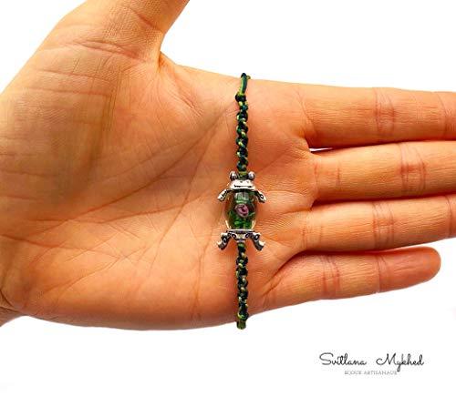 Pulsera talismán suerte RANA. SAPO. MARSH. CROAR perla de cristal de murano con rosa para adultos y niños cuerda de satén verde