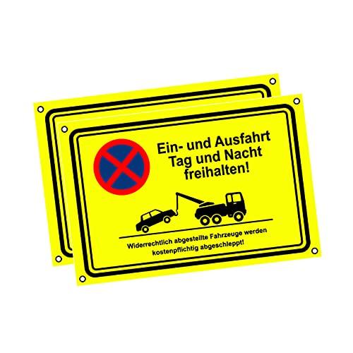 Einfahrt freihalten Schilder - Ausfahrt freihalten Schild - Parken verboten - Fahrzeug wird abgeschleppt! - Garage Tag und Nacht freihalten (30x20 cm) (2 Stk. Ausfahrt freihalten Tag und Nacht)