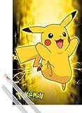 1art1 Pokemon Pster (91x61 cm) Pikachu Neon Y 1 Lote De 2 Varillas Transparentes