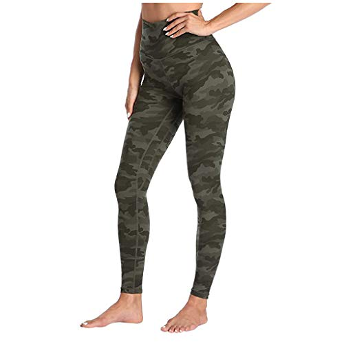 TAMALLU Elastisch Jogginghose für Damen Hohe Taille Muster Enge Hose Lässige Yoga Hose(Armeegrün,XS)