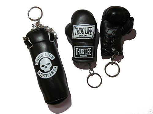 Thug Life Schlüsselanhänger Set Boxsack Sandsack und Boxhandschuhe schwarz Sonderedition (Totenkopf)