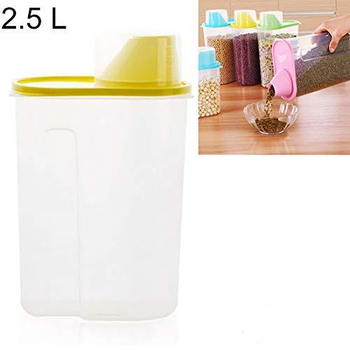 zokop Küchenwaren Küche Transparent ABS 2.5L Sealed Korntank mit Deckel, Größe: 16 * 9 * 22cm, L-Code (Pink) (Farbe : Gelb)