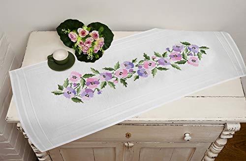 Kamaca Stickpackung Tischdecke STIEFMÜTTERCHEN Kreuzstich vorgezeichnet aus Baumwolle Stickset mit Stickvorlage (Tischläufer 40x100 cm)
