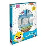 Multiprint Box 4 Sellos para Niños Baby Shark, 100% Made in Italy, Set Sellos Niños Persolanizados, en Madera y Caucho Natural, Tinta Lavable no Tóxica, Idea de Regalo,, Art.27995