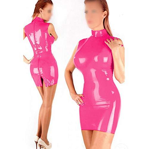 CICSI Nachthemden Für Damen PVC Minikleid High Neck Clubwear Sexy Damen Vinyl Dessous Mit Zwei-Wege-Reißverschluss-Rosa_4XL
