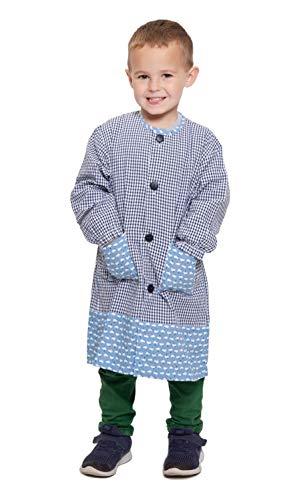 Ardeco's - Bata escolar Botones Azul Gallinas niño (8)