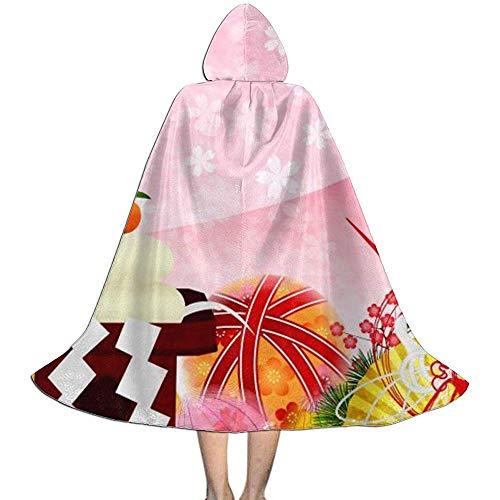 KDU Mode Heks Mantel, Japanse Ventilator Sushi Kraan Kids Hooded Premium Wizard Capes Voor Heks Wizard Kostuums 138cm
