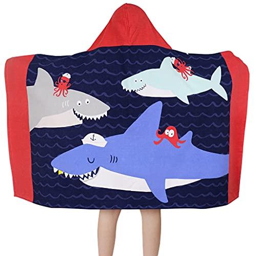 VIMUKUN Toalla con Capucha para baño y Playa para niños 76 cm * 127 cm, Absorbente Suave, 100% algodón, tiburón y Ballena, niños niñas Nadar Encubrir
