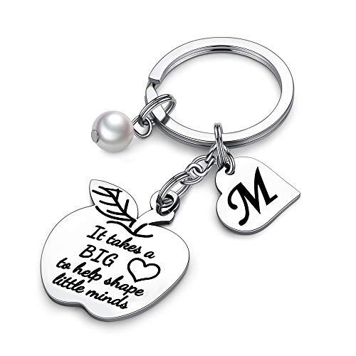 Apple Keychain Gift Back to School Teacher Appreciation Teacher Christmas Gifts Birthday Back to School Custom Teacher Name Necklace