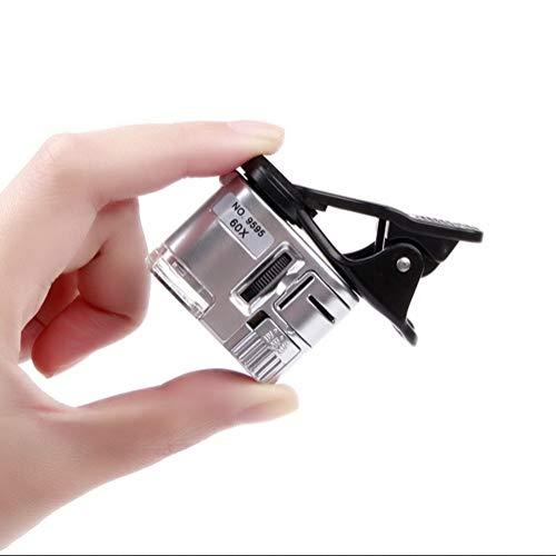 Nagelneu, hohe Qualität 60x Vergrößerungsglas Tragbare Mini Handyclip Mikroskop Lupe mit LED UV Lichtern für Universelle Smartphones Jade Identifikation Schmuck Antike Stempel Sammeln Werkzeug HD trag
