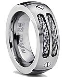 Ultimate Metals Co. 8MM Bague Titane Avec Cable D' acier Pour Homme Taille 57