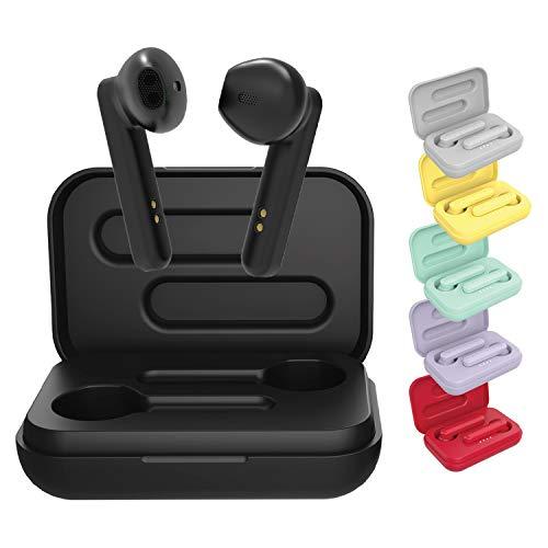 BlueElement Pop, auricolari Bluetooth 5.0 TWS, senza fili, suono stereo 3D HD, autonomia 6H, custodia di ricarica LED, facile da collegare, microfono integrato, leggeri per iPhone/Android (nero), S