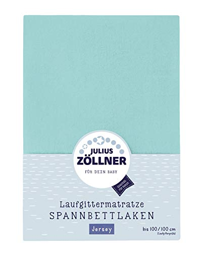Imagen para Julius Zöllner 8390347600bajera ajustable Toalla, apto para parque colchones 68x 90hasta 95x 95cm), color verde menta, turquesa