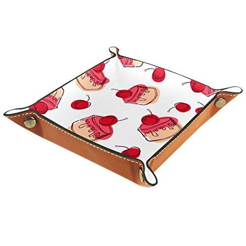 AITAI Valet plateau de chevet en cuir vegan - Organiseur de bureau - Assiette de rangement - Attrape les cupcakes et les desserts
