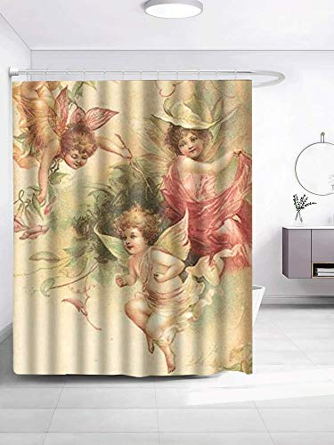 SPXUBZ Carry Me Go Elegant Sacred Beautiful Angel Decor Shower Curtain Waterproof Bathroom Decor Polyester Fabric Curtain Sets with Hooks