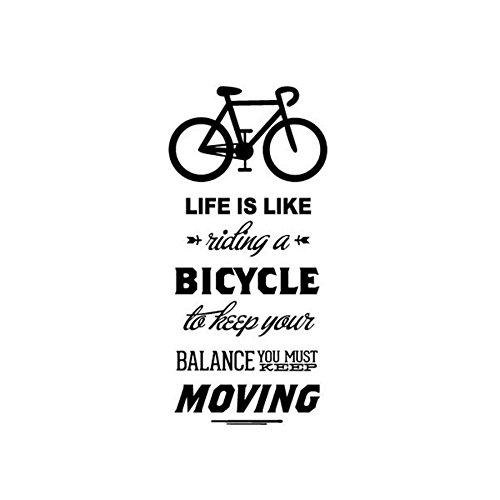 JXLLCD Das Leben ist wie EIN Fahrrad Zitat Wandaufkleber DIY, wenn Sie EIN Fahrrad Fahren Vinyl Fahrrad Wandkunst Aufkleber Aufkleber Wandbild Heimdekoration 57 cm x 27 cm