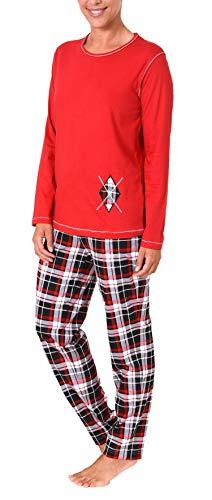 NORMANN-Wäschefabrik Damen Pyjama lang mit Karohose und Applikation - auch in Übergrössen bis Gr. 60/62, Farbe:rot, Größe2:48/50