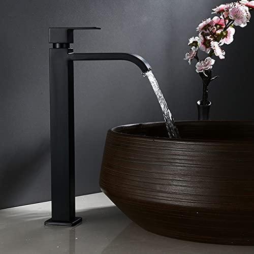 Grifo de lavabo Grifo de baño frío individual Lavabo negro Grifo de lavabo de baño Alto Grifo de acero inoxidable 304, Cuadrado