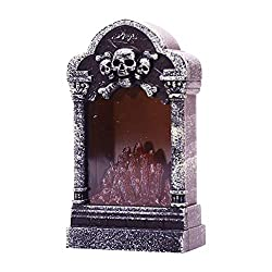Shan-S Halloween Decoration LED Graveyard Tombstones Lamp Headstone Light Small Gift Haunted House Night Light Skull Graveyard Lamp Decorations for Halloween Yards Tombstone Shape Decor Supplies
