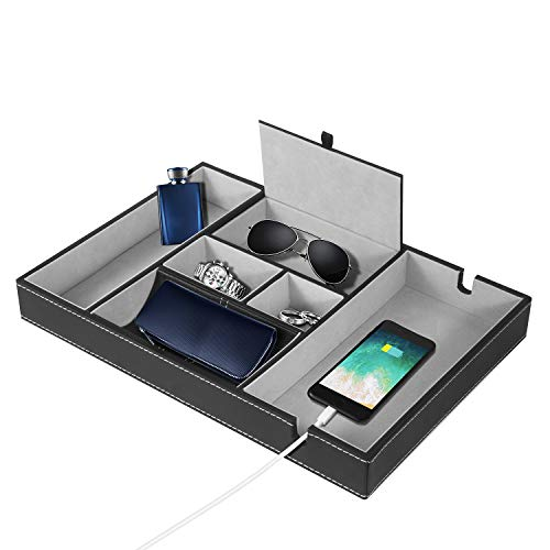 Agghia Valet Tray Nightstand Organizer, Premium Quality Catchall Box 6 Slot Dresser Organizer for Men and Women with Charging Station Luxury Table Jewelry Accessories Box for Watch, Keys, Accessories