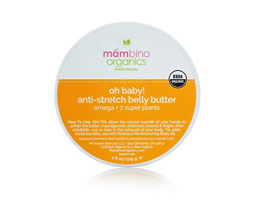 Mambino Organics Oh Baby. Belly Butter - All Natural Anti Stretch Mark Cream, 2.5 Ounces