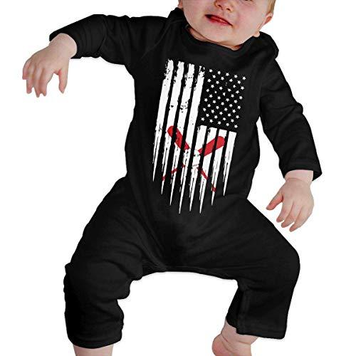SDLZIJFGHBC Baseball Softball American Flag Baby Girl Long Sleeve Bodysuit Infant Romper Jumpsuit 12M