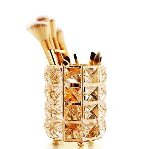 GCDN Pot à pinceaux de maquillage avec perles en cristal - Pot à crayons - Seau de rangement (rond, doré)
