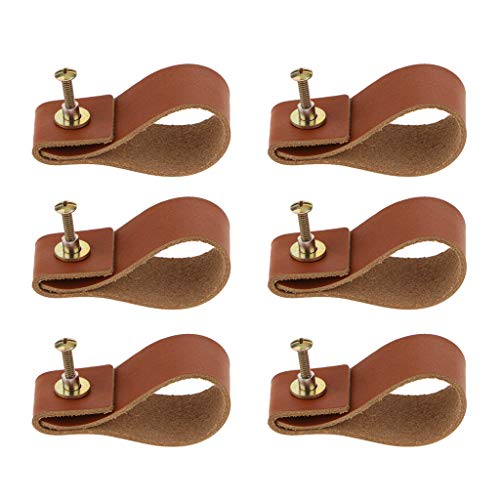 SM SunniMix 6pcs Door Handles Minimalist Leather Cabinet Cupboard Knobs and Handles Kitchen Cupboard Drawer Pull Handle