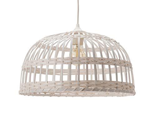 Lussiol 250492 lampa wisząca z bambusa, 60 W, biała, ø 40 x wys. 22 cm
