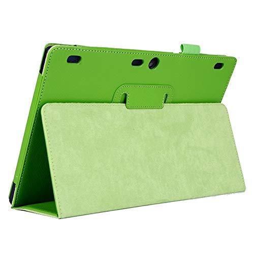 YANTAIAN Funda de Cuero en Color Liso con Tapa Horizontal de Textura de Litchi con Soporte de 2 Plegables for Lenovo Tab2 A10-70 (Color : Green)