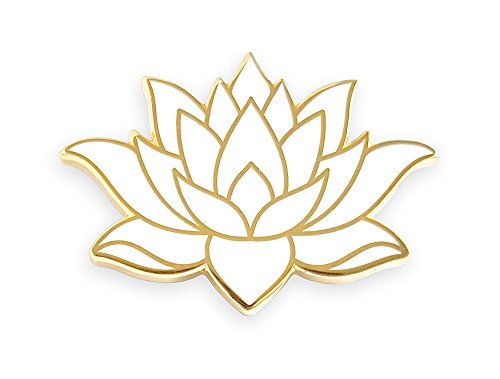 Pinsanity White Lotus Flower Enamel Lapel Pin