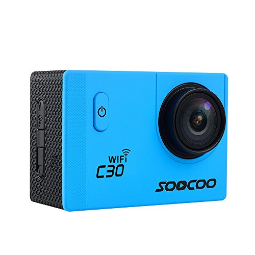 MDTEK@16GB TF Card+ Original SOOCOO C30 HD 4K WiFi Action Camera 2.0 inch Screen 170 Degree Wide Angle Voice Prompt Loop Cycle Recording Motion Detection(Blue)