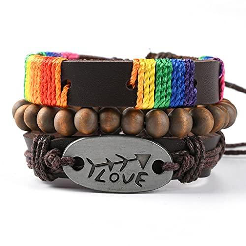 Branets Pulseras de cuero para hombres, cuentas de madera, cuerdas de cáñamo, trenzadas tribales, coloridas pulseras de múltiples capas para hombres y mujeres