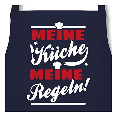 Shirtracer Schürze mit Motiv - Meine Küche Meine Regeln! - 60 x 87 cm (B x H) - Navy Blau - männer kochschürze - PW102 - Kochschürze für Männer und Damen