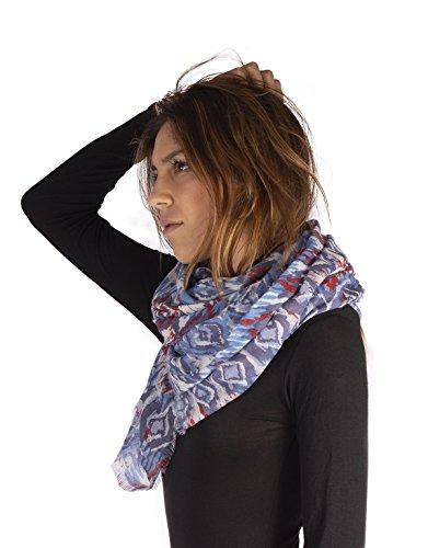 CALZITALY Foulard dames van zachte viscose | Kleurrijke sjaal doek met patroon | Afmetingen 180x100 cm